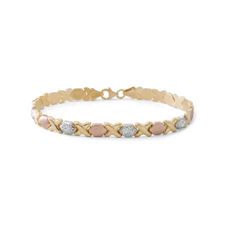 Gold Over Sterling Silver Tri Color Hug And Kisses Bracelet