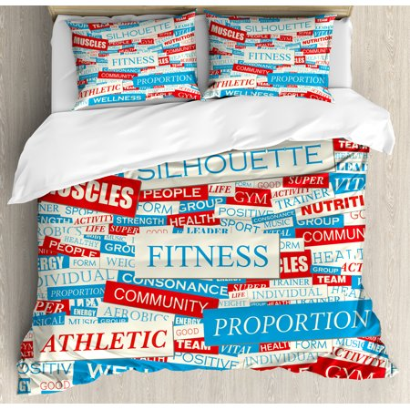 Fitness Duvet Cover Set Collage Of Words Physical Activity Healthiness Nutrition Bodycare Theme Decorative