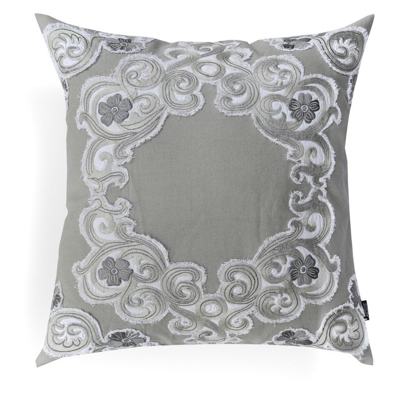 Image of A1 Home Collections Bernadette Grey Embroidered Applique Pillow