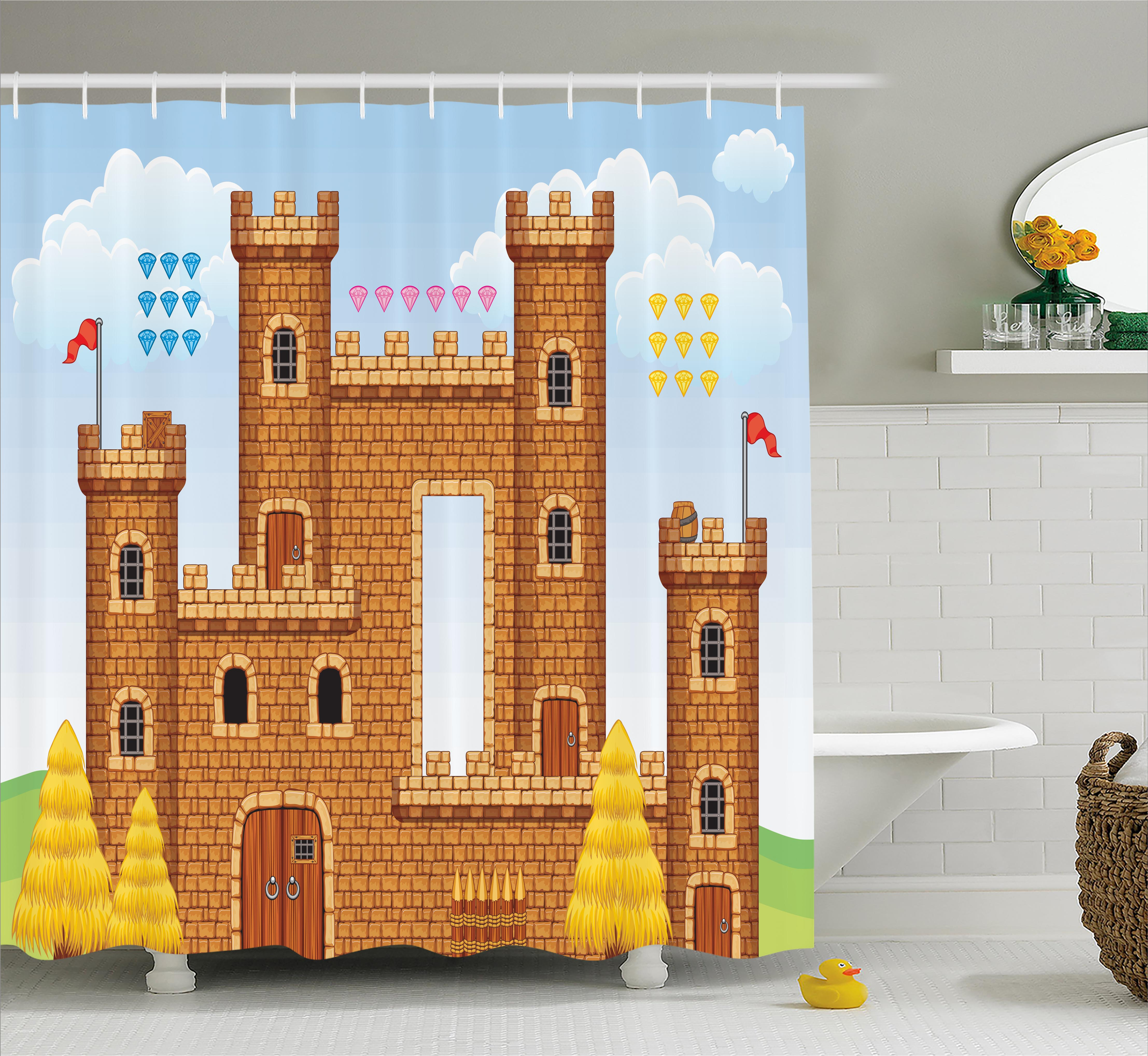 Children Shower Curtain, Video Game Background With Castle Leisure Hobby  Activity Kids Youth Design,