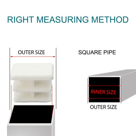 15 x 15mm Plastic Square End Tube Inserts Furniture Feet Floor Protector 19pcs - image 5 de 7