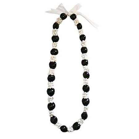 Hawaiian Lei Necklace of Kukui Nuts and White Mongo - Shell Lei