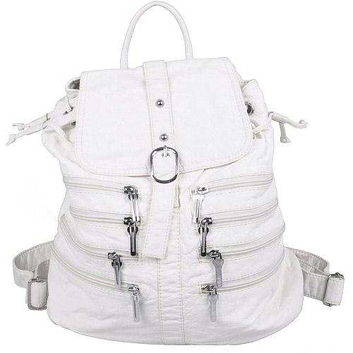 Brinley Co Women's Zipper Detail Faux Leather Backpack