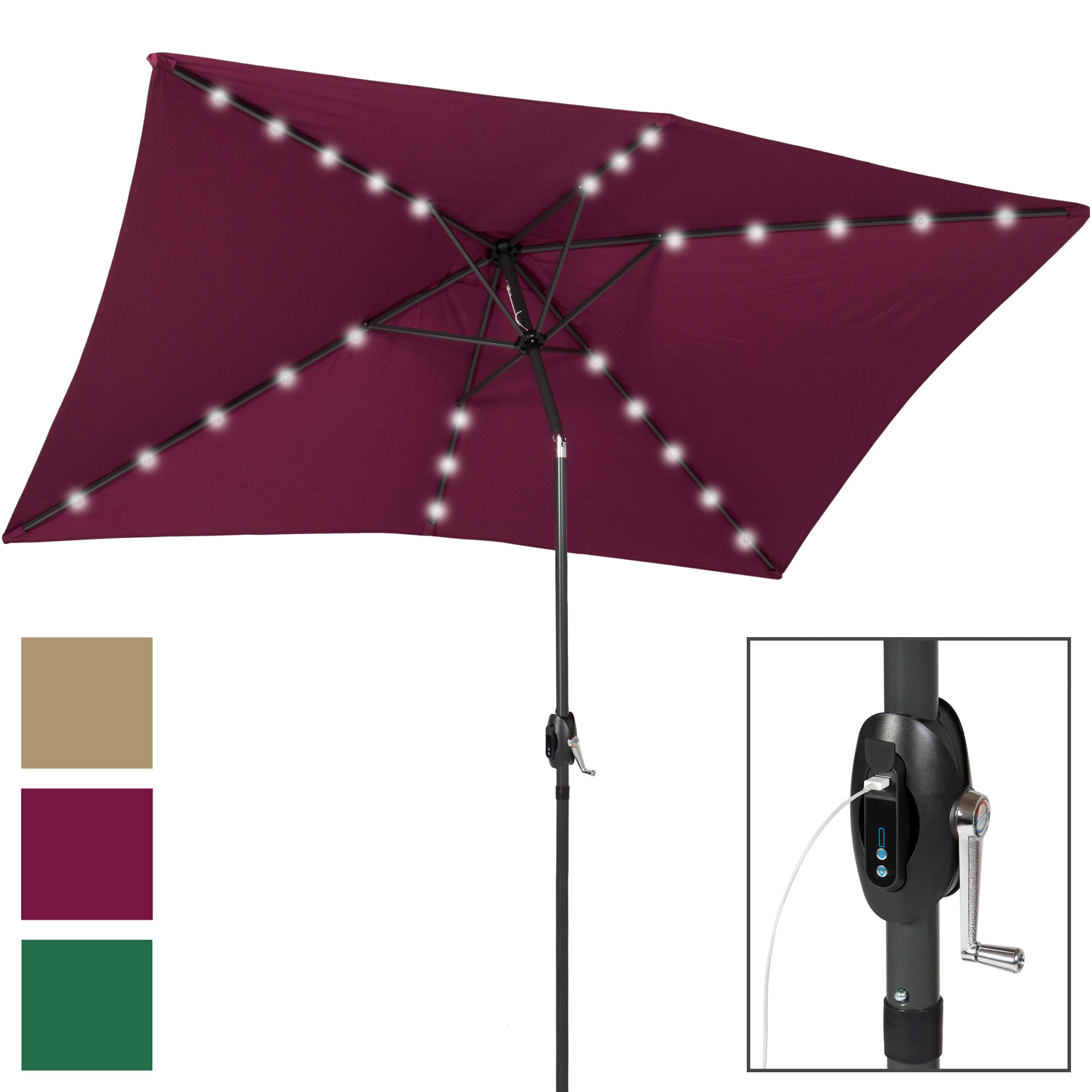 Best Choice Products 10x6.5ft Rectangular Solar LED Patio Umbrella w/ USB Charger, Portable Power Bank, Tilt