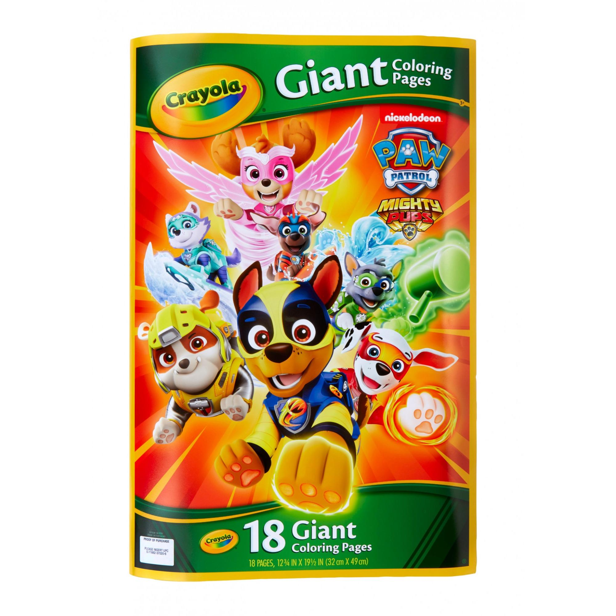 Crayola Paw Patrol Giant Coloring Pages, Gift For Kids, Age 3, 4, 5, 6