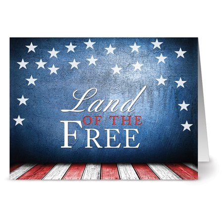 24 Patriotic Note Cards - Land of the Free - Blank Cards - Red Envelopes Included