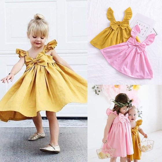 d4485ea82a0c Newborn Baby Girls Fashion Cute Party Princess Bowknot Dress Sundress  Outfit Clothes - Walmart.com
