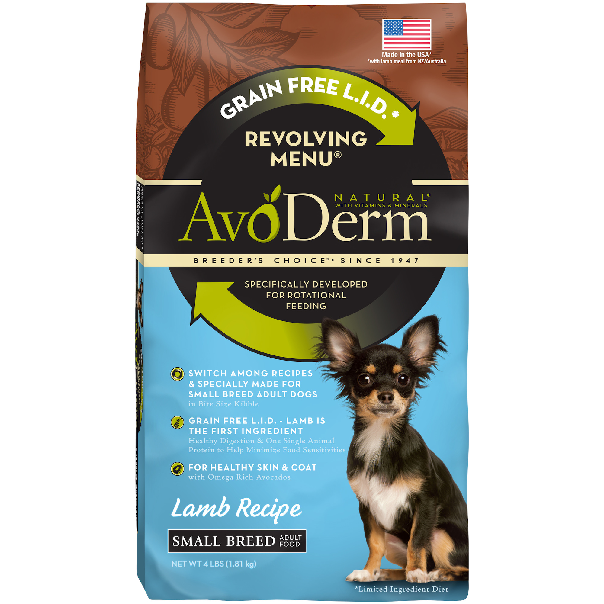 AvoDerm Natural Revolving Menu Small Breed Lamb Dog Food, 4-Pound