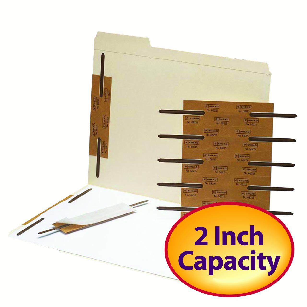 "Smead Self-Adhesive Metal Fastener, Reinforced, 2"" Capacity, Brown, 100 per Box (68215)"