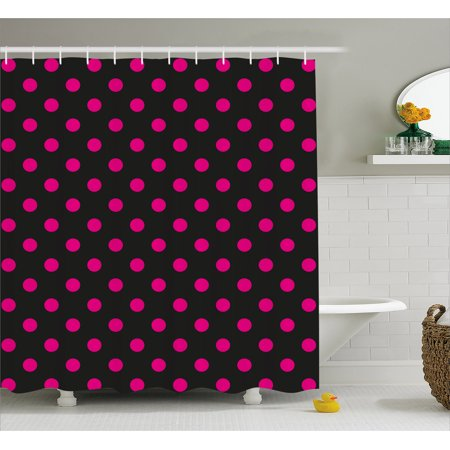Hot Pink Shower Curtain Old Fashioned Polka Dots Symmetrical Pattern In Vibrant Color Classical Pop Fabric Bathroom Set With Hooks Black