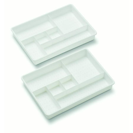 Desk Drawer Tray (Madesmart OPP Two Tray Drawer Organizer, White )