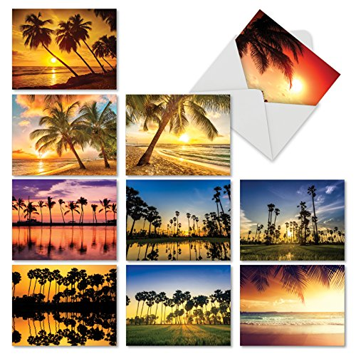 'M6457TYG PALM BEACHES' 10 Assorted Thank You Greeting Cards Featuring Inspirational and Relaxing Images of Tropical Palm Trees Silhouetted Against the Setting Sun with Envelopes by The Best Card Comp