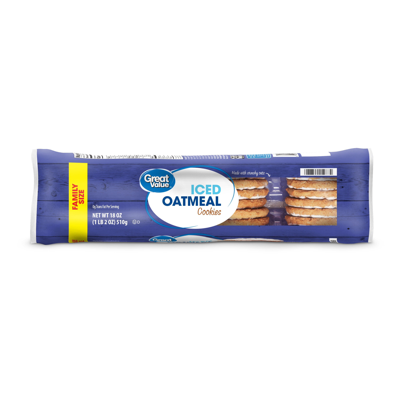 Great Value Iced Oatmeal Cookies Family Size 18 Oz Walmart Com Walmart Com