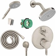 Hansgrohe KSH04447-04342-14PC Raindance Shower Faucet Kit with Handshower PBV Trim with Diverter and Rough-In, Various Colors