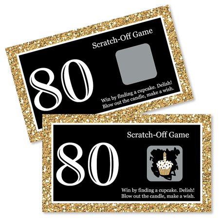 Adult 80th Birthday - Gold - Birthday Party Game Scratch Off Cards - 22 Count](80th Birthday Color)