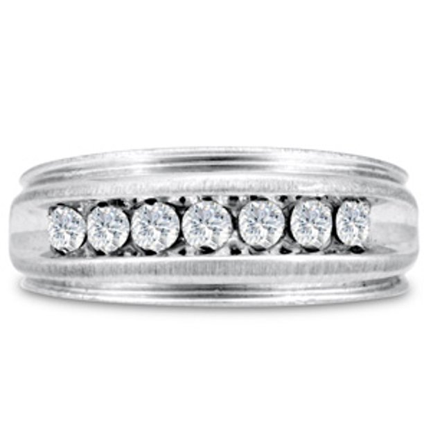 Men's 1/2ct Diamond Ring In 10K White Gold G-H I2-I3 Size 11.5