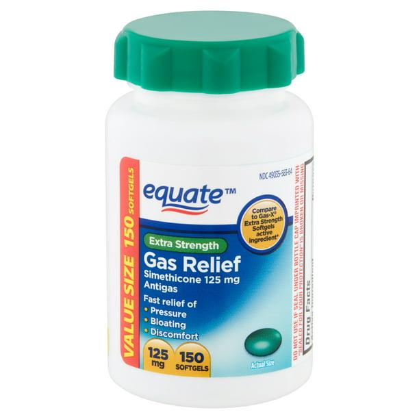 Equate Extra Strength Gas Relief Simethicone Softgels, 125 mg, 150 Ct