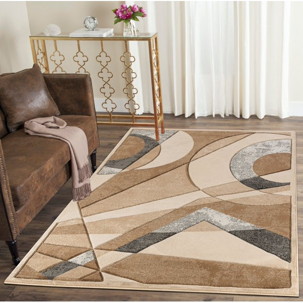 Modern Geometric Shapes Hand Carved Soft Living Room Area Rug Walmart Com Walmart Com