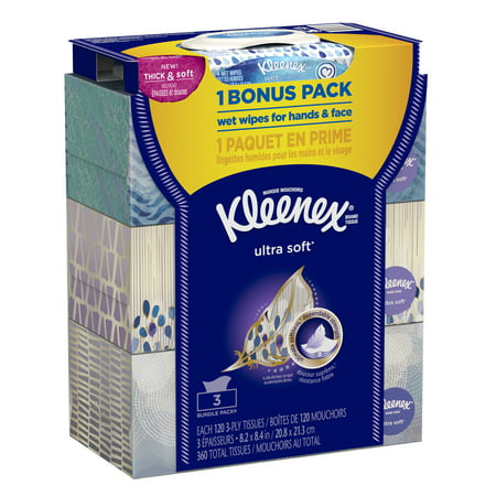 Kleenex Ultra Soft Facial Tissues,120 sheets
