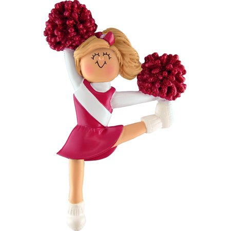 Cheerleader Christmas Ornament (Cheerleader Red Uniform Blonde Personalized  Christmas Ornament DO-IT-YOURSELF)