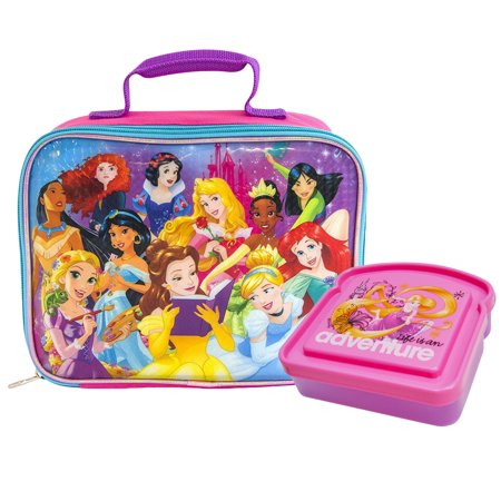 afe036d25ac Girls Disney Princesses Insulated Lunch Bag   Sandwich Container 2Pcs -  Walmart.com