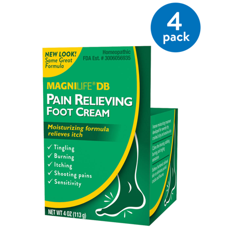 (4 Pack) Magnilife DB Pain Relieving Foot Cream, 4 oz