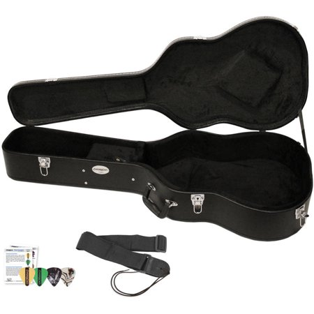 chromacast acoustic guitar hard case with guitar strap and. Black Bedroom Furniture Sets. Home Design Ideas
