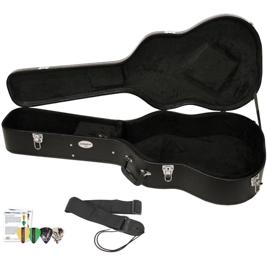 ChromaCast Acoustic Guitar Hard Case with Guitar Strap and Pick Sampler
