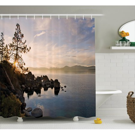 Lake Shower Curtain Tahoe At Sunset With Clear Sky And Single Pine Tree Rest