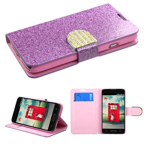 Insten Purple Leather Flip Wallet Protective Case Bling Belt For LG Optimus L70 Exceed 2 Dual D325