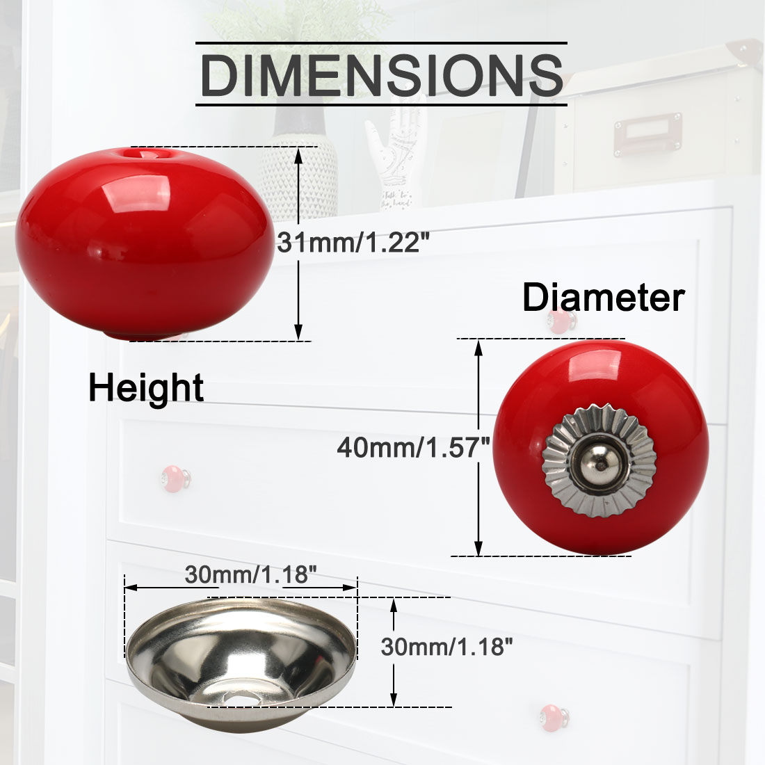 Ceramic Vintage Knob Drawer Round Shaped Pull Handle Wardrobe Dresser 6pcs Red - image 4 de 7