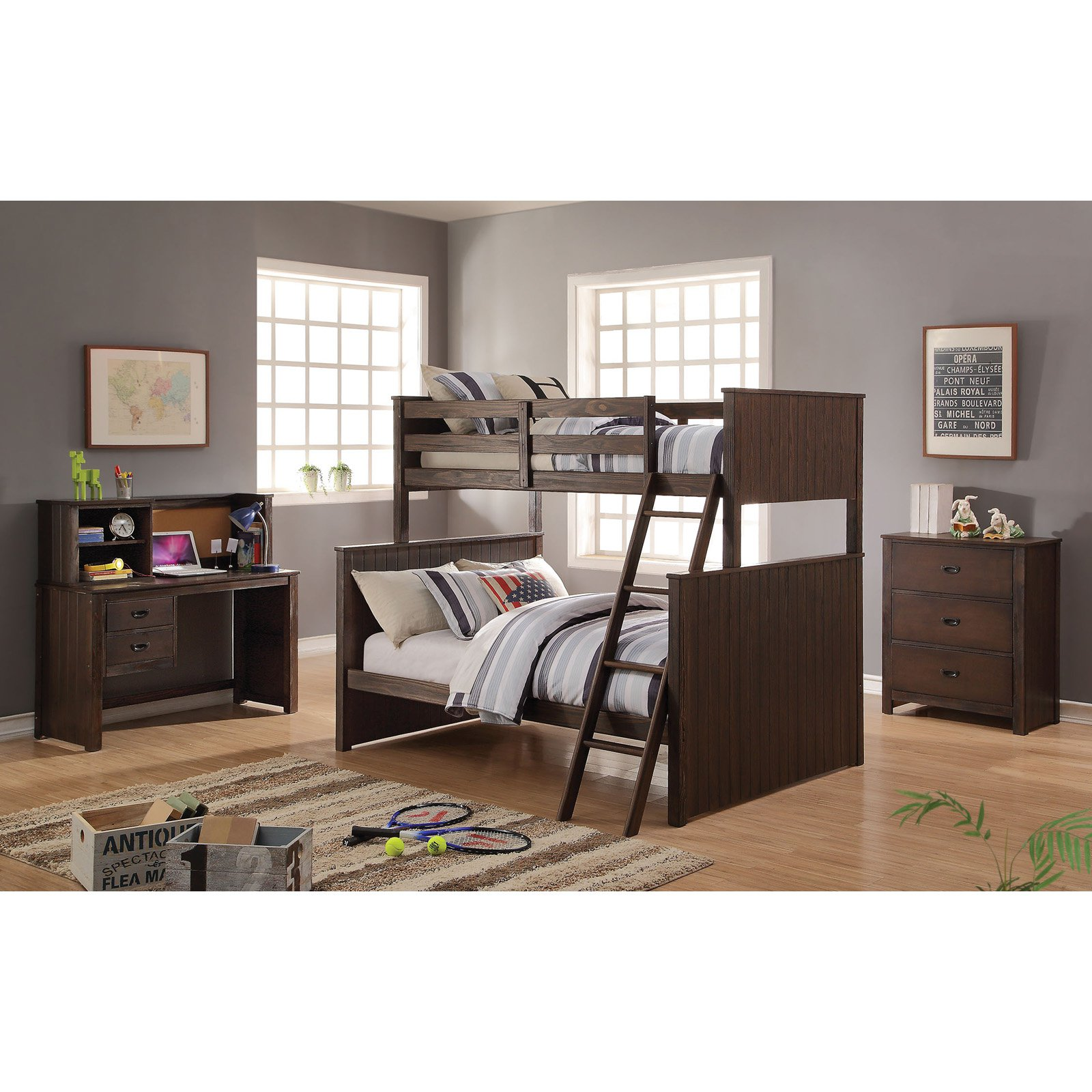 Acme Furniture Hector Twin Over Full Bunk Bed Antique Charcoal Brown by Acme Furniture