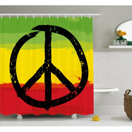 Rasta Shower Curtain Grunge Style Watercolor Design African Flag Colors Hippie Peace Sign Fabric