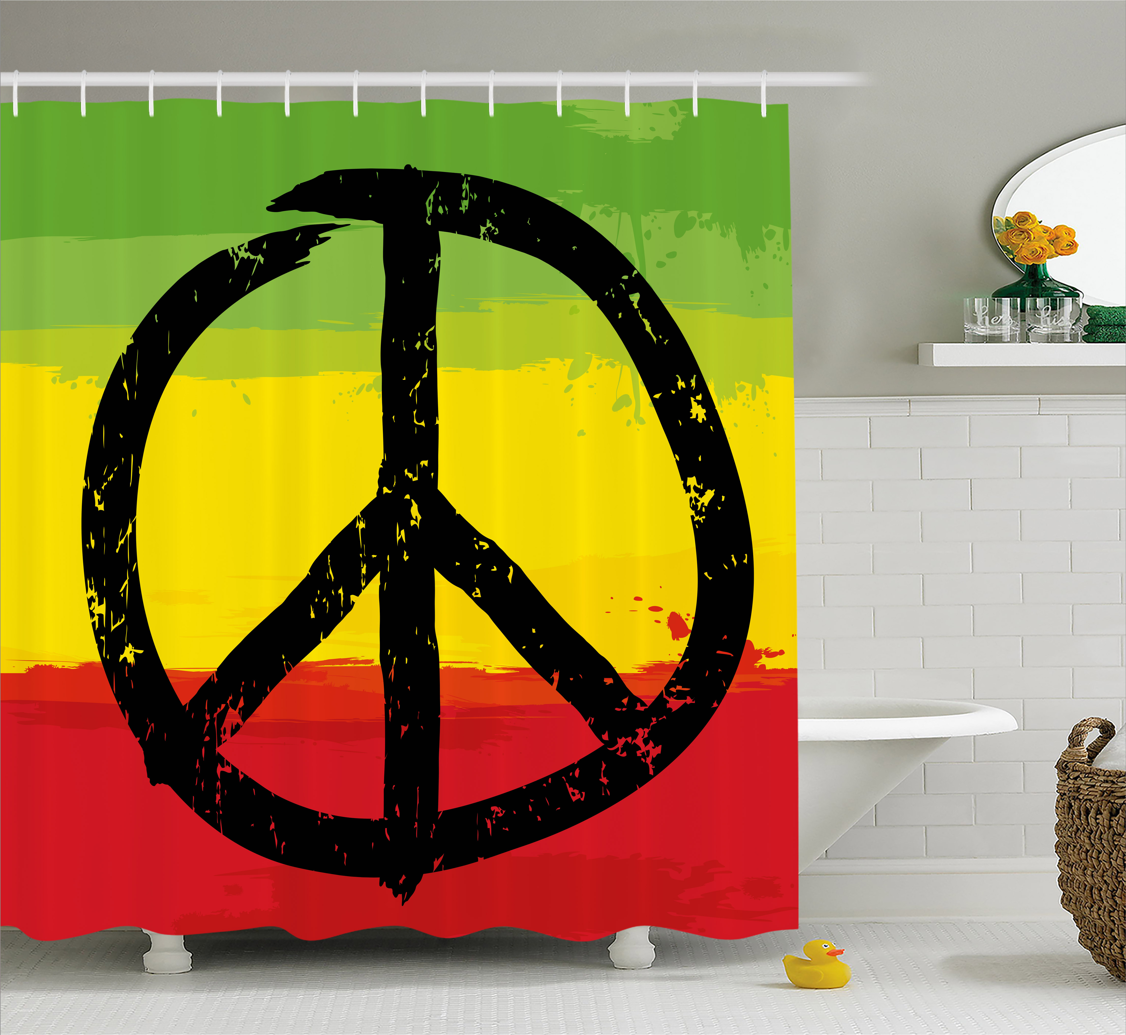 Rasta Shower Curtain, Grunge Style Watercolor Design African Flag Colors  Hippie Peace Sign, Fabric