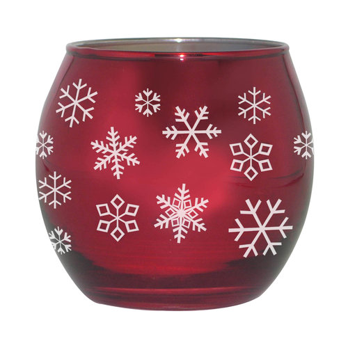 Holiday Time Metallic Red Glass Candle, Winter Wonderland