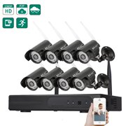Zimtown 8 Channel HD 720P TVL 36-LED WiFi Wireless Waterproof CCTV Video NVR Camera Home Security System (Hard Drive NO Include)