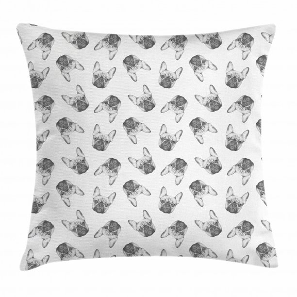 Bulldog Throw Pillow Cushion Cover Hand Drawn Style Pattern With Realistic Monochrome Dog Faces Decorative Square Accent Pillow Case 16 X 16 Inches Charcoal Grey Pale Grey White By Ambesonne Walmart Com