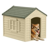 Suncast Deluxe Outdoor Dog House with Door - Water Resistant and Attractive for Small to Large Sized Dogs