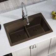 MR Direct Granite Composite 33'' L x 22'' W Double Basin Drop-in Kitchen Sink with Strainer and Flange