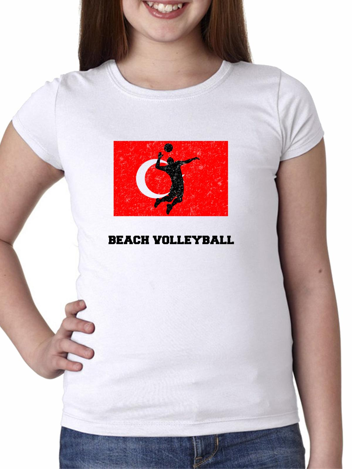 Turkey  Olympic - Beach Volleyball - Flag - Silhouette Girl's Cotton Youth T-Shirt