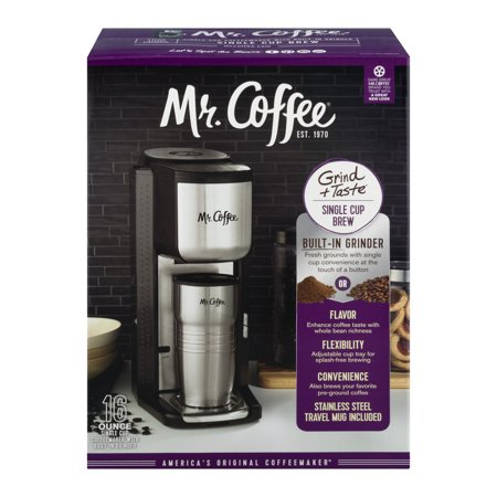 Mr. Coffee Single Cup Coffeemaker with Built-in Grinder, BVMC-SCGB200