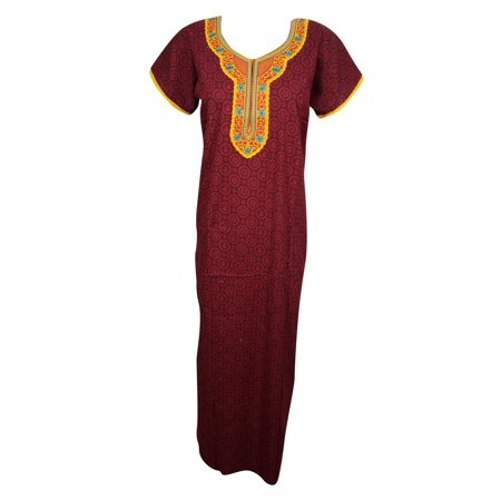 Embroidered Maxi - Mogul Womens Maxi Caftan Beautiful Neck Embroidered Cap Sleeves Summer Comfortable Evening Wear Kaftan Nightgown Sleepwear Dress