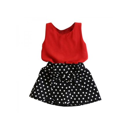 Lavaport Toddler Kids Baby Girl Cute Clothes Sleeveless T-shirt Tops+Dots Skirts - Cute Kids Clothing Stores
