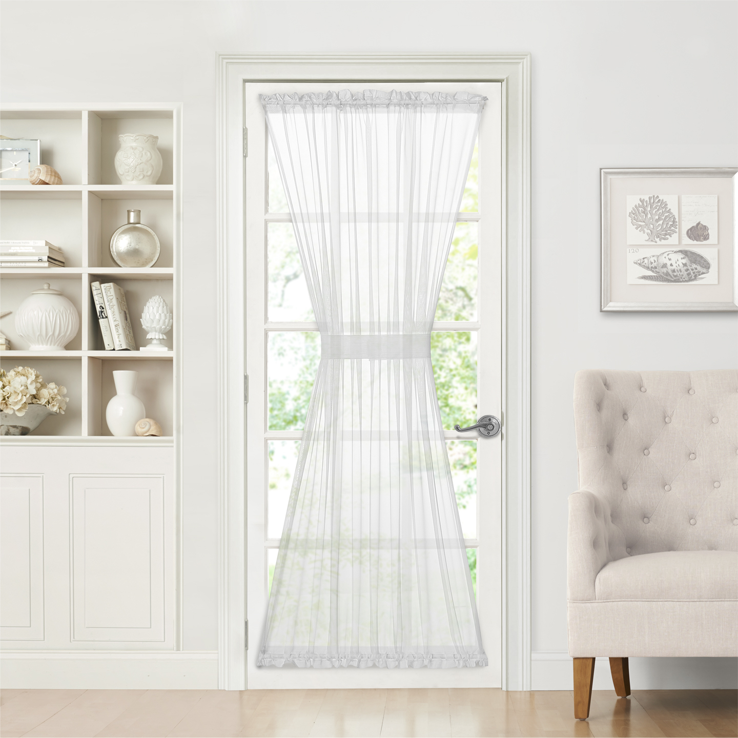 Semi Sheer French Door Curtain With Tieback (White, 72 in.)