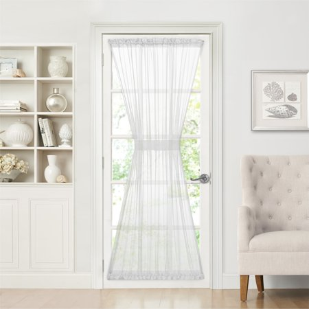 Semi Sheer French Door Curtain With Tieback White 72 In