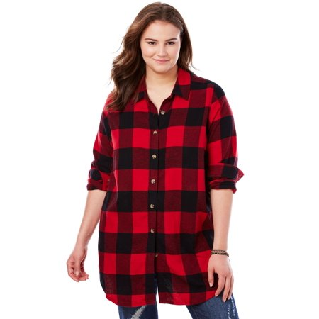 latest design coupon code terrific value Woman Within Plus Size Classic Flannel Shirt