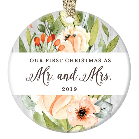 Our First Christmas Married 2019 Ornament Mr & Mrs 1st Holiday Newlyweds Wedding Gift New Bride & Groom Pretty Ceramic Wife Husband Present 3