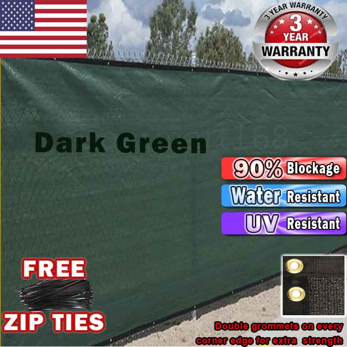 Green 4'x50' Fence Windscreen Privacy Screen Shade Cover Fabric Mesh Garden Tarp... by