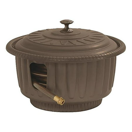 Suncast Hose Hideaway 50-Foot Decorative Planter Water Hose Reel Storage, Mocha ()