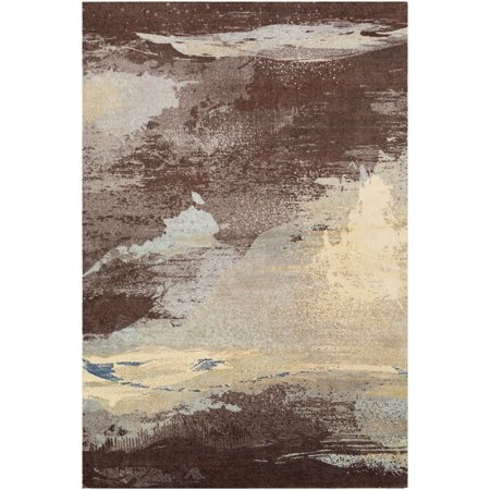 8' x 10' Abstract Patterned Dark Brown and Cream Rectangular Area Throw Rug ()